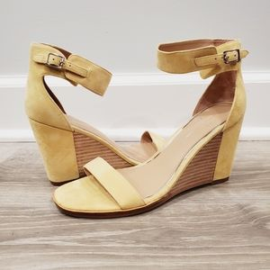 NEW Linea Paolo Elodie Wedge Yellow Suede Sandal